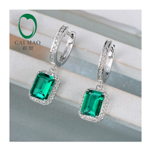 14K White Gold 2.15CT 5.5×7.5mm Emerald Diamond Engagement Earrings free shipping