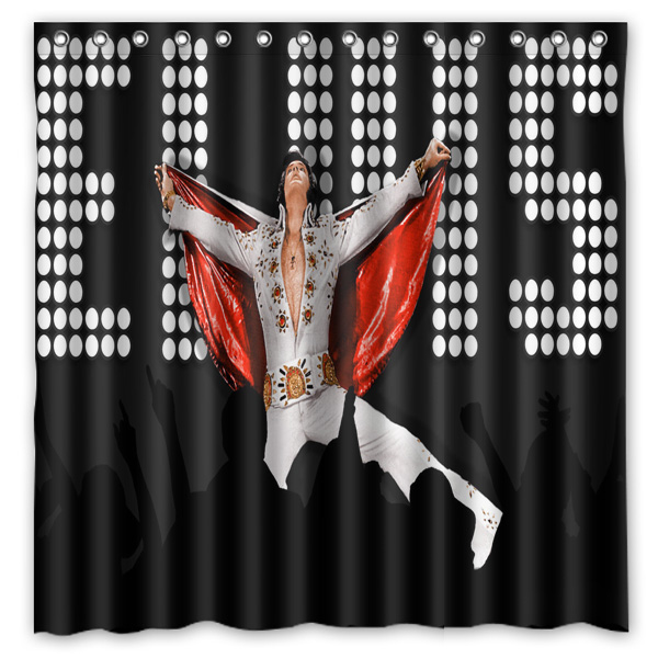 Elvis Presley Printed Polyester Shower Curtain Waterproof Home Bathroom Curtains With 12 Hooks 180x180CM