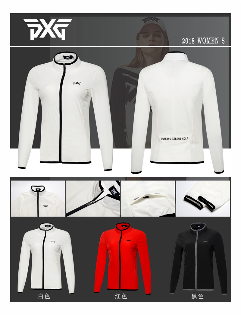 2018 woman's PXG Golf Jacket Zipper Coat windproof Outdoor Sports Outwear with Pocket Autumn Slim Single Layer Golf thin jacket arm zipper pocket design patched jacket