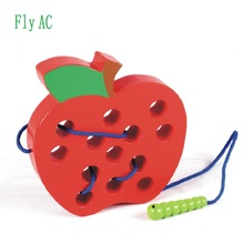 Фотография [Fly AC] Montessori Educational Toys Fun Wooden toy Worm Eat Fruit Apple Early Learning Teaching Aid Toys for Children Gift