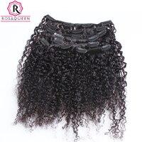 3B 3C Crépus Bouclés Clip En Extensions de Cheveux Humains Pleine Tête ensembles 100% Naturels Humains Cheveux Clip Ins Rosa Reine Brésilienne Remy cheveux