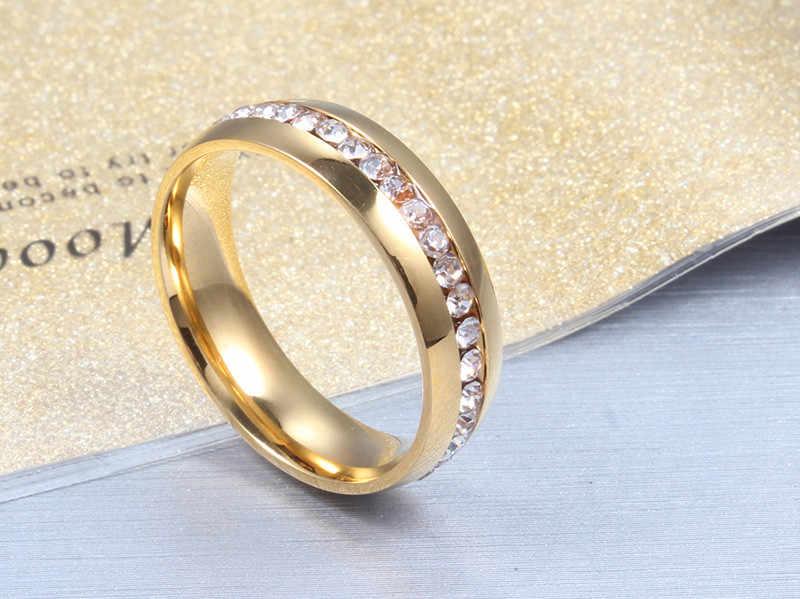 ZORCVENS 2019 новые модные хрустальные кольца для женщин золотого цвета из нержавеющей стали ювелирные подарки