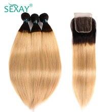 Sexay 1B/27 pelo humano Rubio 3 mechones con cierre Ombre pelo lacio brasileño extensiones de cabello humano mechones con cierre Remy
