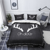 Winter deer Bedding Set Fleece fabric Duvet Cover Sets Bed Sheet for boys,girls Bedroom Sets Queen Size Bedlinen