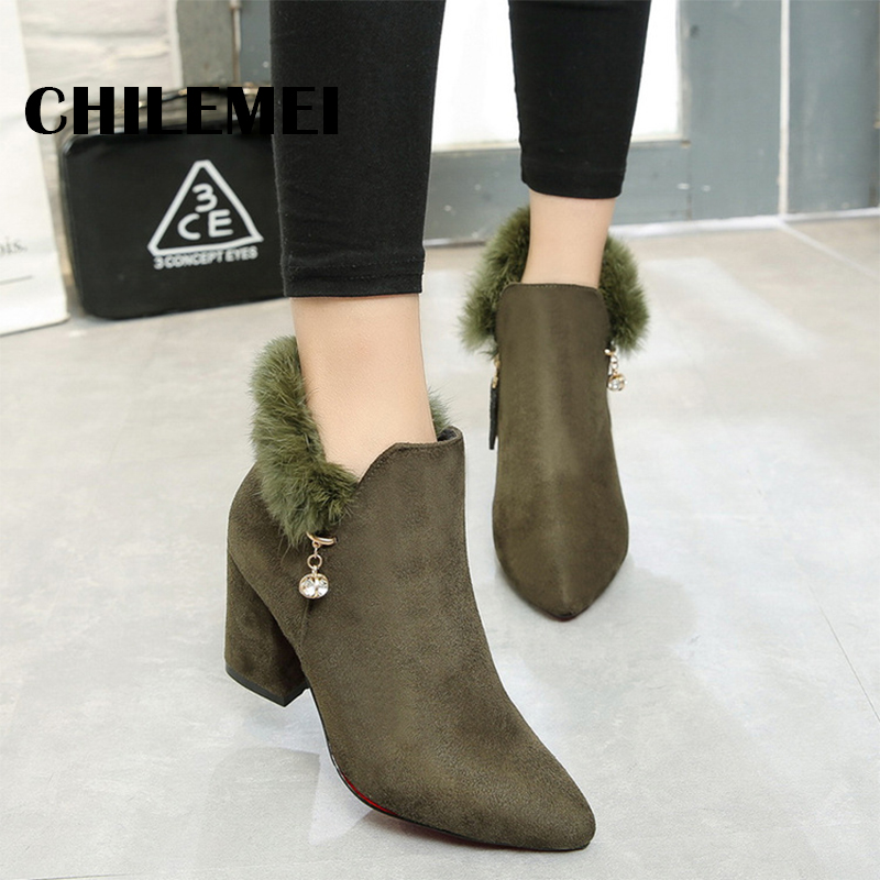 New arrival 2017 hot women boots ankle thick heel shoes shape up height increasing warm feather