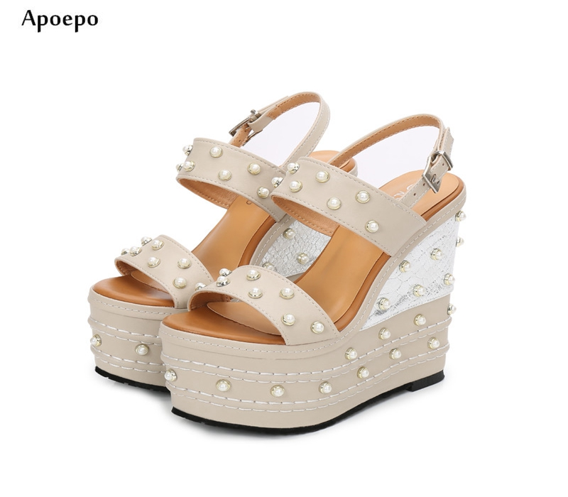Apopeo Newest 16cm Super High Platform Sandal for Woman Fashion White Pearls Beaded Wedge Sexy Shoe Open Toe Buckle Strap Sandal new fashion big pearls beaded woman flat shoes 2017 sexy open toe sandal crystal embellished slides