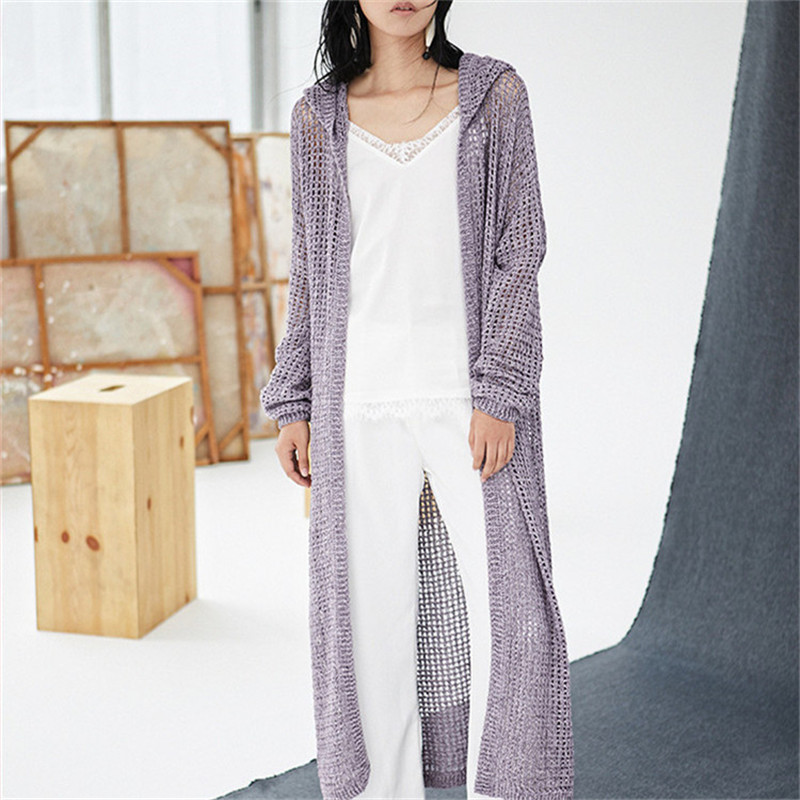 100% Hand Made Polyester Thin Hollow Out Knit Women Fashion Hooded Solid Long Cardigan Sweater Retail Wholesale Customized