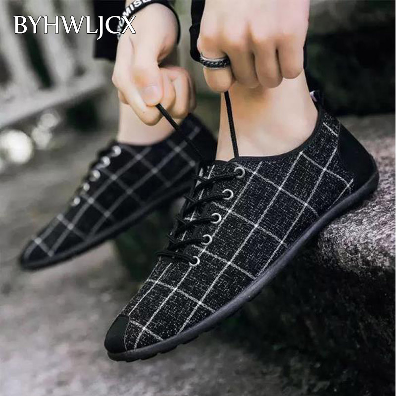 Men's Non-leather Casual Shoes Breathable Canvas Flat Shoes Summer Soft Rubber Men Sneakers Suitable For Driving Dress Shoes
