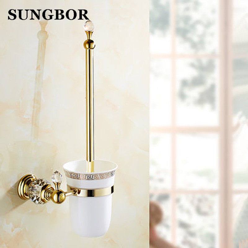 Luxury Golden European style Brass Crystal Toilet Brush Holder,Gold Plated Toilet brush Bathroom Products Bathroom Accessories fashionable foot style gold plated crystal inlaid necklace golden