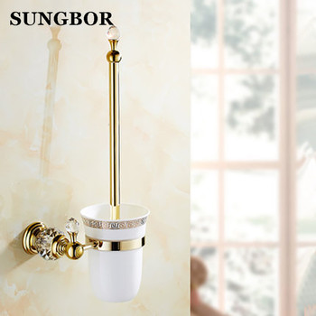 Soporte de cepillo de baño de cristal de latón de estilo europeo dorado de lujo, cepillo de baño chapado en oro productos de baño accesorios de baño