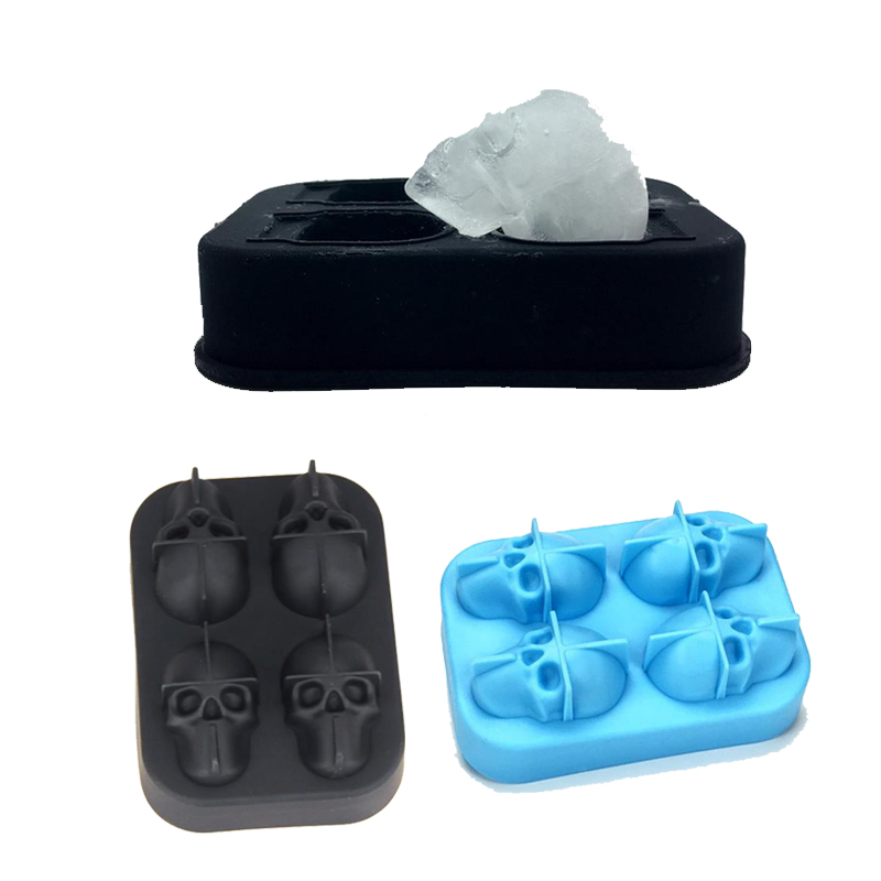Creative 3D Ice Cubes Mold Halloween Skull Shape Ice Cream Maker Silicone Ice Lattice Mould Bar Accessories Whisky Drinking Tool