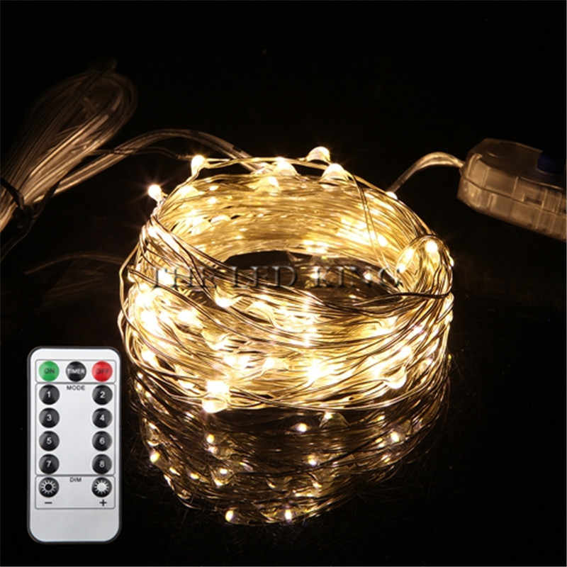 Remote Control Dimmable USB Led String Lights 10m 100 leds 5V 33FT Copper Wire Warm White/RGB wedding party decoration Lighting