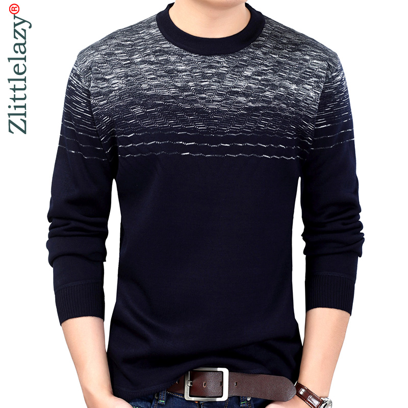 2019 New Brand Designer Pullover Striped Men Sweater Mens Thick Winter Warm Jersey Knitted Sweaters Mens Wear Slim Fit Knitwear