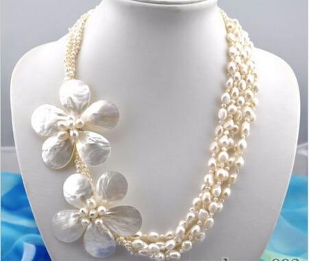 """Joli mariage de femmes livraison gratuite>>>> 5 brins 24 """"collier de fleurs en forme de perle blanche baroque"""