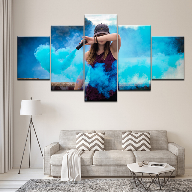 Canvas Painting shy girl Blue smoke 5 Pieces Wall Art Painting Modular Wallpapers Poster Print for living room Home Decor