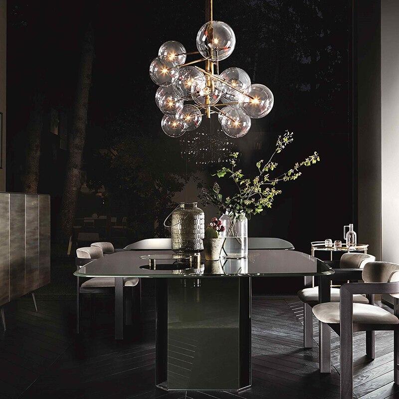 Moderne minimalistische Roterende Plafond Verlichting Led Lamp Ronde Glazen Bal Creatieve Opknoping lichten ijzer Led G4 lamp Indoor Home Bar goud - 3