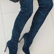 Популярные пикантные женские замшевые сапоги на высоком каблуке-шпильке; женские Сапоги выше колена с острым носком; обувь для подиума; женские сапоги знаменитостей