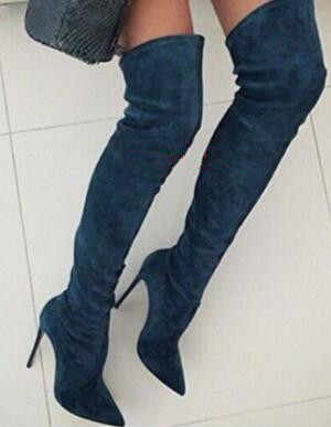 Hot Sexy Stiletto Haut Talons Femme En Cuir Suédé Bottes Pointu Orteil Femmes Over-the-genou Bottes Piste Chaussures femme Celebrity Boot