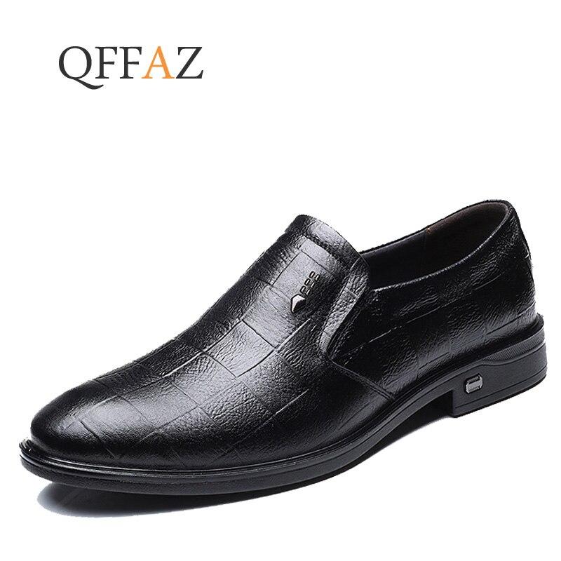 QFFAZ Brand Fashion Men Dress Shoes Men Comfortable Business Shoes Slip On Wedding Shoes Spring Autumn