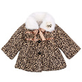 Retail 1 pcs children spring autumn winter leopard fur jackets outwear baby flower girls coat Fashion free shipping 34