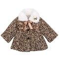 Retail 1 unids niños otoño invierno leopard fur jackets outwear bebé de las muchachas de flor de Moda libre del envío 34