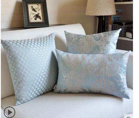 Classical Light Blue Jaquard Cushion Cover Sofa Geometric Lumbar Pillwocase Decorative Waist Pillow Cover Set For Backrest