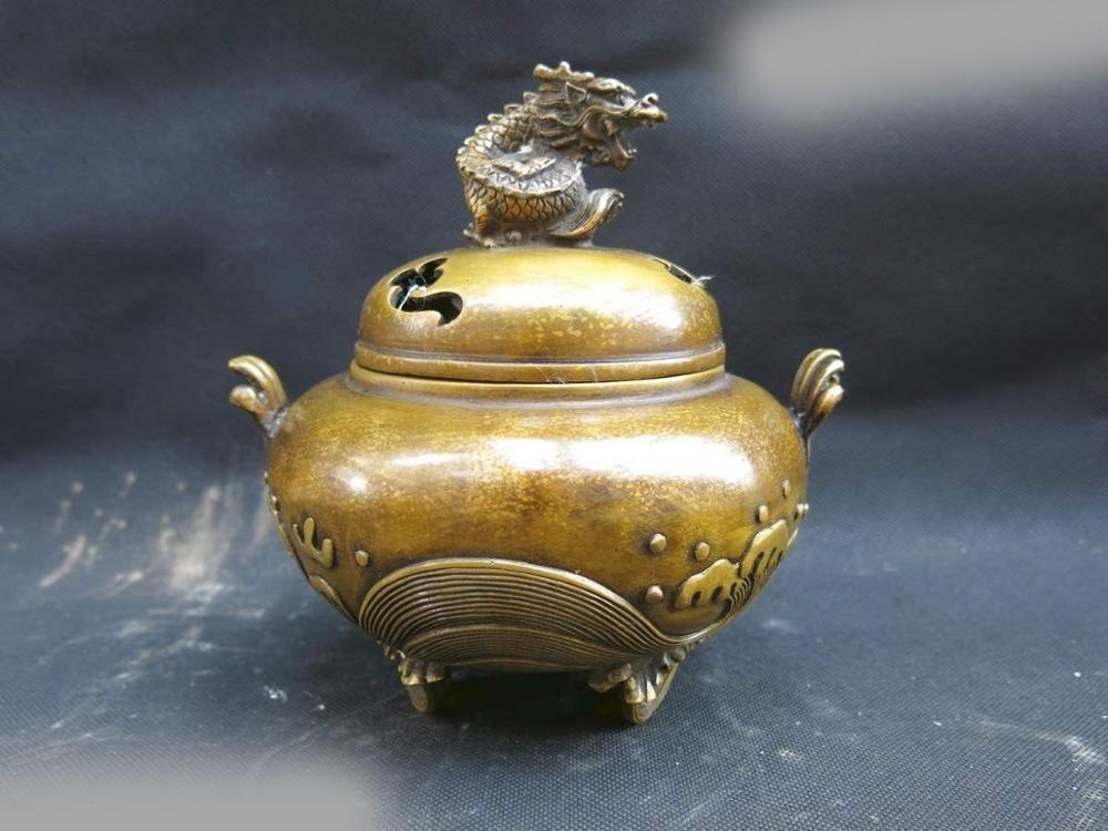 China Pure Brass Carved Finely Buddhism Dragon Wave Incense Burner Sculpture