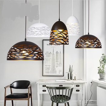 New Iron Pendant Lights Simple Creative Restaurant Coffee Single Head Dining Pendant Lamps Personality Semicircle Lampshade
