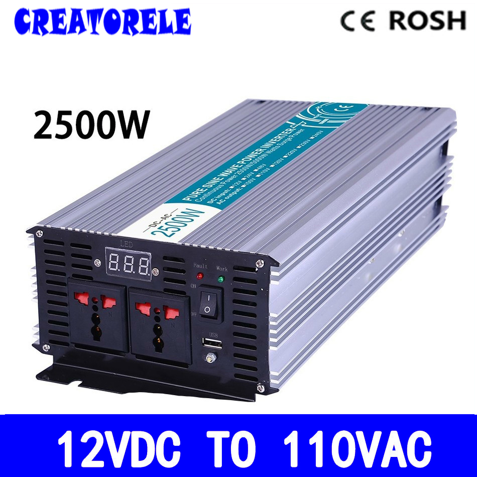 P2500-121 high quaIity off grid power iverter 2500w Pure Sine Wave 12v to 110vac voItage converter,soIar iverter IED DispIa p800 481 c pure sine wave 800w soiar iverter off grid ied dispiay iverter dc48v to 110vac with charge and ups