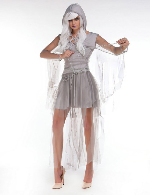 Newest Gothic Zombie Costume Sleeveless Gauze Splice Sexy Ghost Bride Costume Cosplay Corpse Bride Costume with Silver Chain  sc 1 st  Aliexpress & Online Shop Newest Gothic Zombie Costume Sleeveless Gauze Splice ...