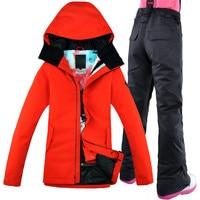 2017 GSOU SNOW Ski Suit Women Scarlet coat Windproof Breathable Waterproof snowboarding Snow Jacket+Pants Warm Clothes Set