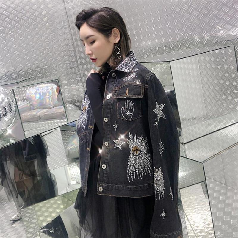 Heavy duty hot drilling Pentagram Denim Jacket Women turndown collar Spliced Basic Jacket For Women Hot
