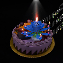 Birthday Candle Blossom Lotus Flower Candles Party Cake Music Sparkle Topper Candele Rotating Lights Decoration