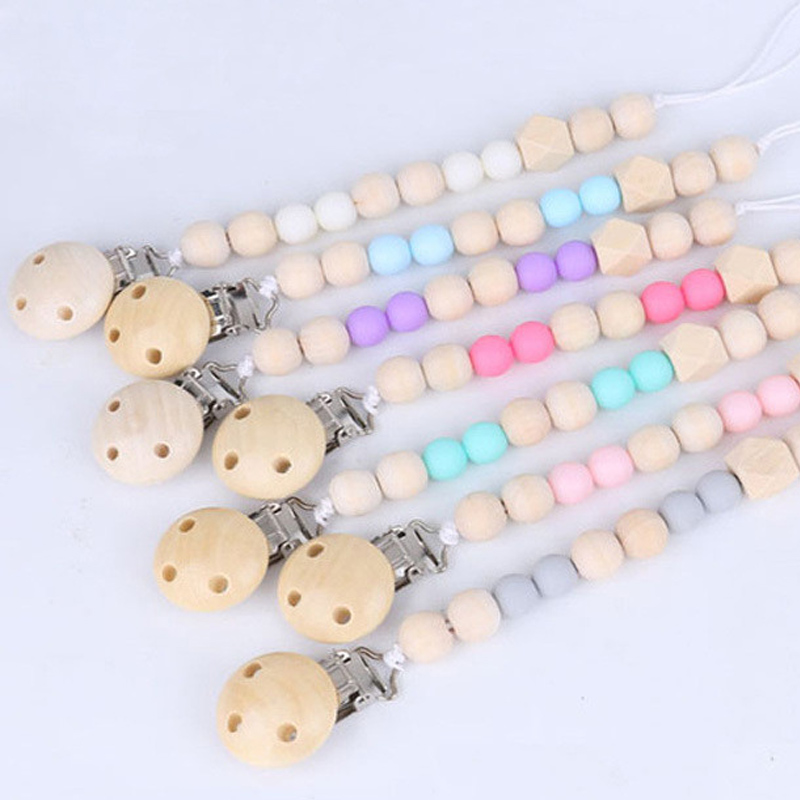 Baby Pacifier Clip Nipple Teether Holder Soother Silicone Wood Dummy Beads Chain
