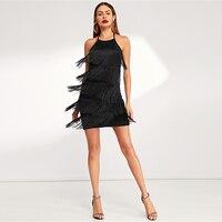 Vestido corto negro flecos halter sin mangas otoño 4