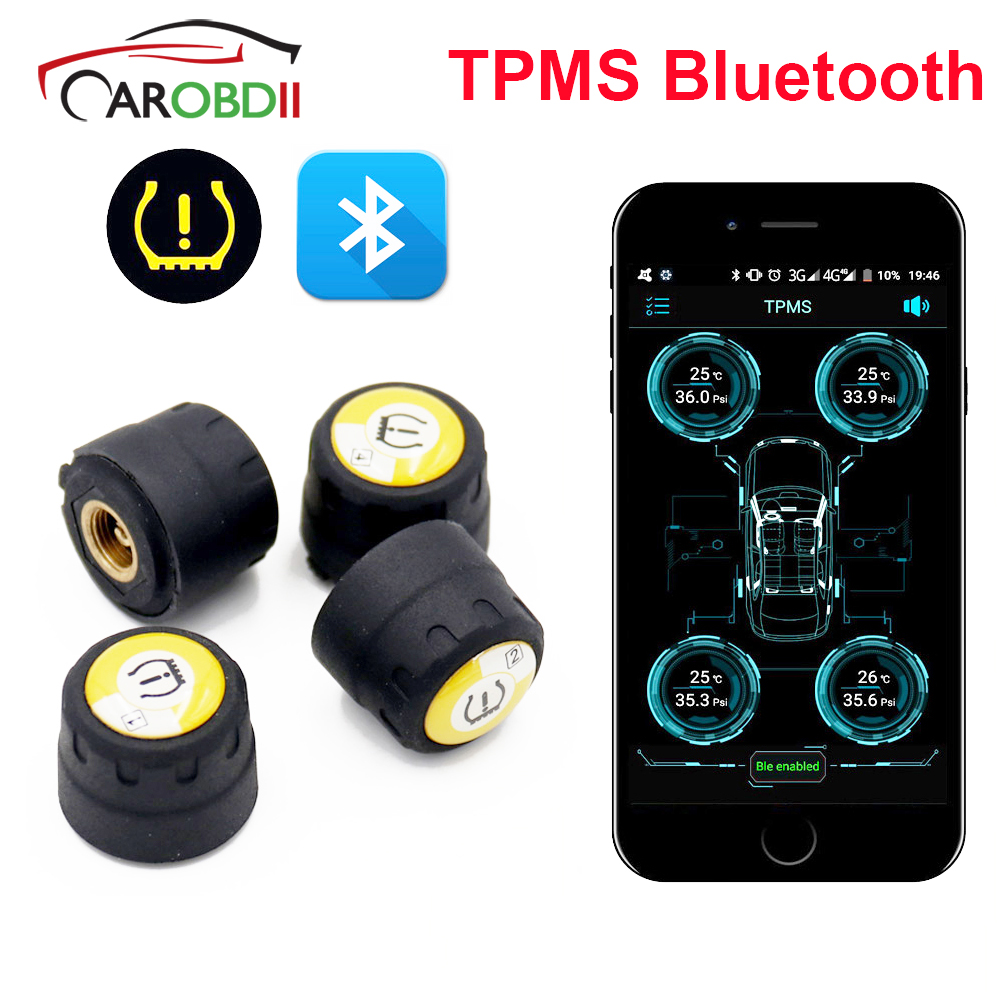 TPMS Bluetooth 4 0 Universal external tyre pressure Monitoring System tire pressure sensor Easy Install For