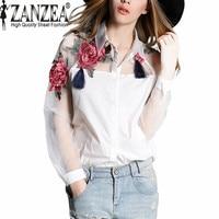 Women Blusas 2015 Spring Summer Elegant Women Fashion Blouse Flower Embroidery Vintage Shirts Organza Sleeve Tops
