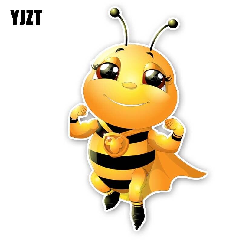 YJZT 8.6CM*13.8CM Cartoon Creative Bee Decal PVC Car Sticker 12-300558