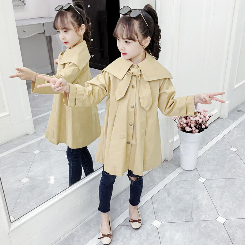 Khaki Bow Big Baby Girls   Trench   Coats Clothing New 2019 Autumn Kids Long Single Breasted Cotton Jackets Children Outerwear Tops