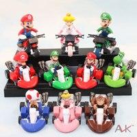 Envío Gratis 10 unids/set Lindo Super Mario Bros Kart tira Del Coche Del PVC Figura de Acción de Juguete 2