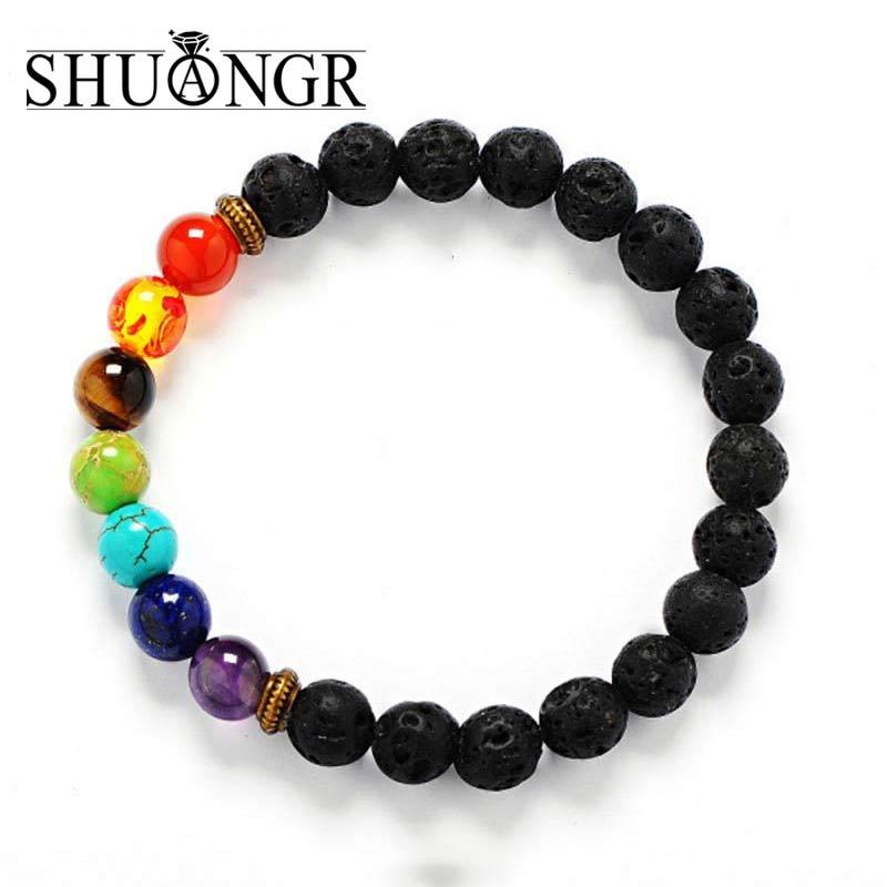 SHUANGR New 7 Chakra Bracelet Men Black Lava Healing Balance Beads Reiki Buddha Prayer Natural Stone Yoga Bracelet For Women
