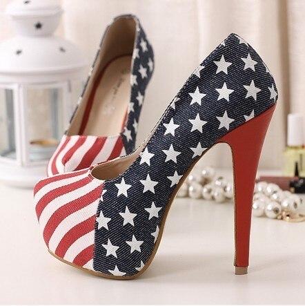 Fashion 2016 Women Pumps Slip On Stilettos Women High Heels American Flags Sexy Ladies Party Shoes