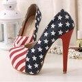 Moda 2016 mulheres bombas Stilettos Slip On mulheres de salto alto bandeiras americanas sensuais senhoras sapatos de festa