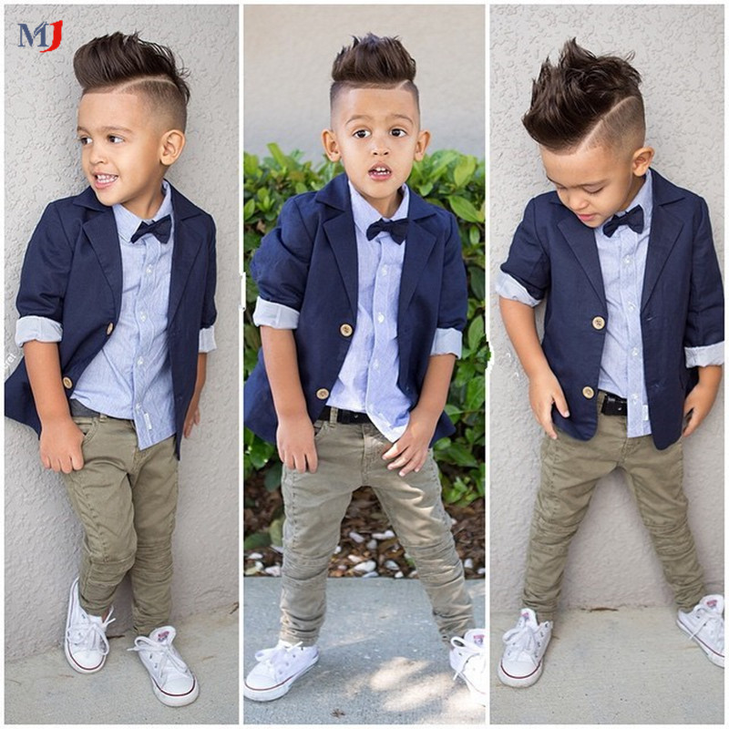 2016 Boys Girls Fashion Suits Gentleman Coat Shirt Pants / Set Jacket Denim Jeans Children's Kids Clothes - MJ store