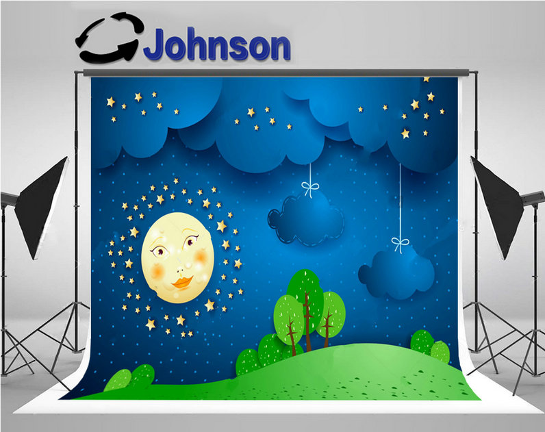 Night Sky Full Moon blue Clouds tree grass photo backdrop Vinyl cloth High quality Computer print children kids background