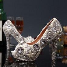 พลัสขนาด35-43เซ็กซี่คริสตัลP Eep Toeรองเท้าแต่งงานRhinestoneผู้หญิงปั๊มเปิดนิ้วเท้ารองเท้าส้นสูง