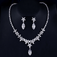 UILZ Wedding Jewelry sets Necklace Earring set For Women Water Drop AAA zircon Silver color Jewelery Gifts US347