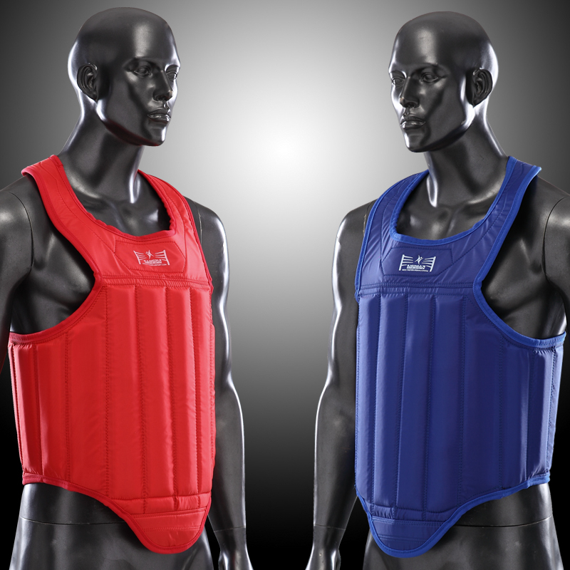 Sports Accessories High Quality Red Blue Color Mma Chest Guard Kick Boxing Fighting Muay Thai Boxing Back Support Taekwondo Chest Protector Vest