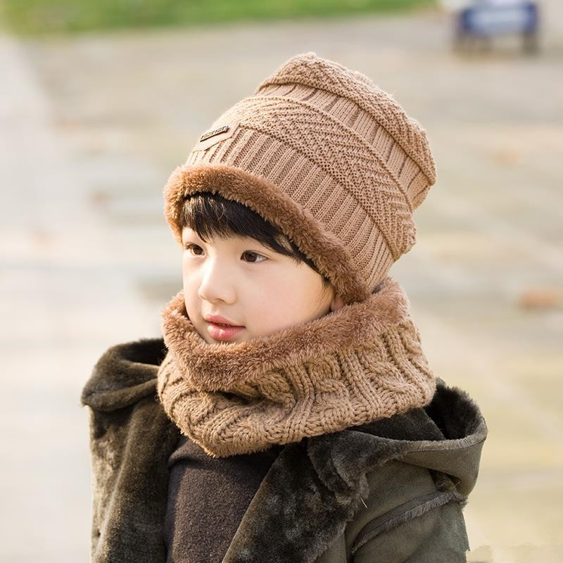 Child 2pcs super warm Winter balaclava wool Beanies Knitted Hat and scarf for 3-12 years old girl boy hats 2