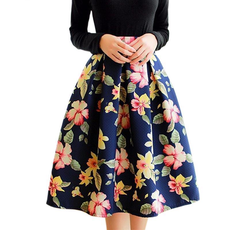 Plus Size Skirt Floral Print Midi Elastic Waist Retro Vintage High Waist